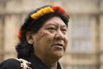 Davi Kopenawa outside Parliament, London, 2009