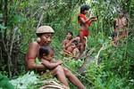 Yanomami women and children resting in their garden, Toototobi, 2010